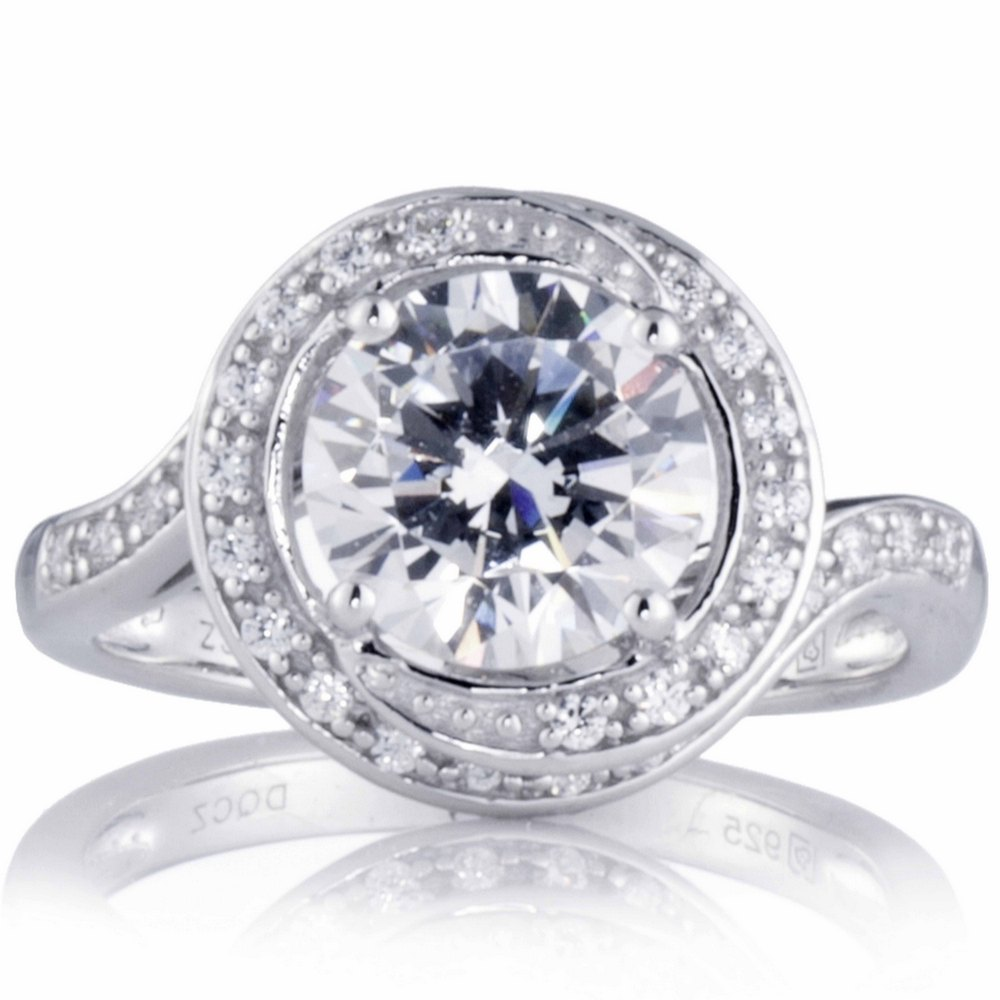QVC 605347 – Diamonique 3ct tw Swirl Solitaire Style Ring Sterling Silver £31.20
