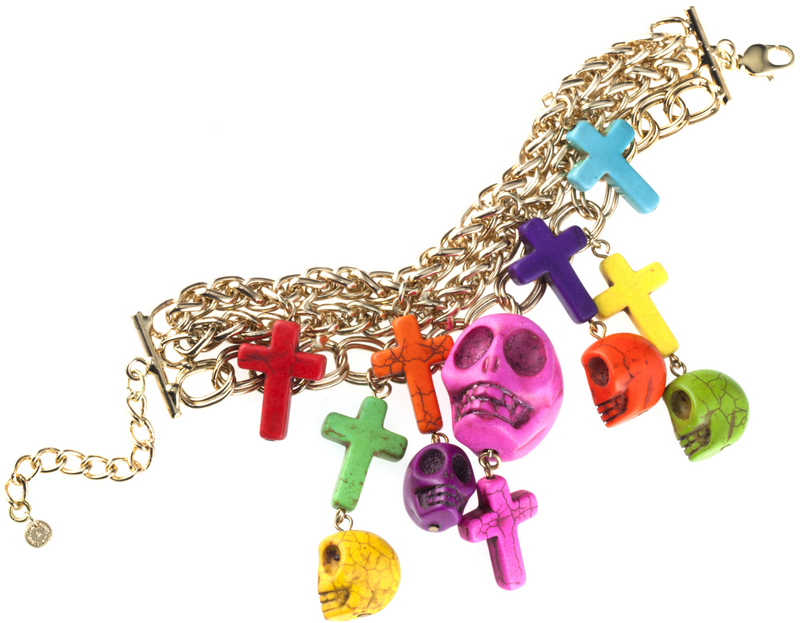 QVC 301583 Butler & Wilson Skull & Cross Charm Bracelet £19.19