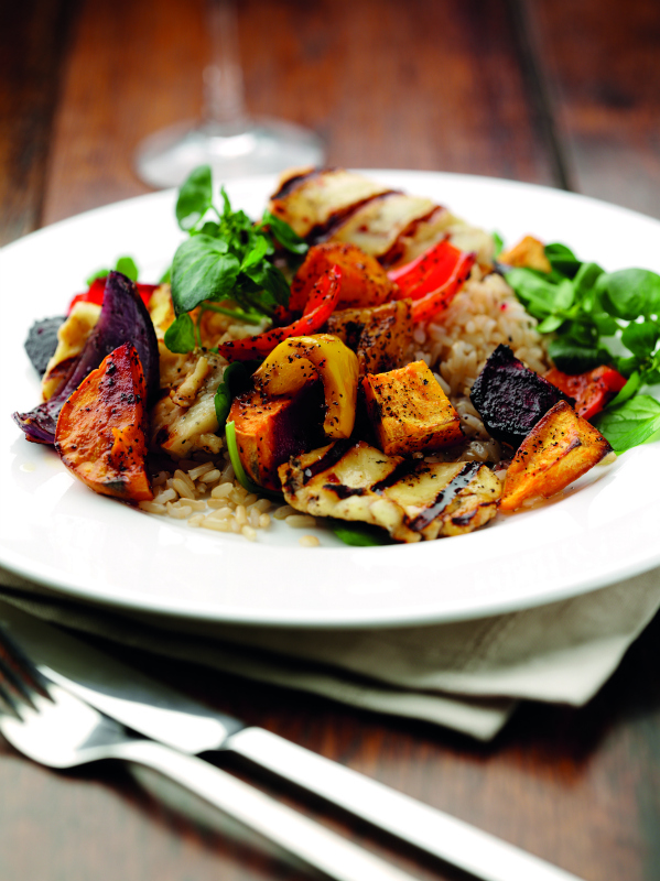 Tea roasted vegetables with brown rice and griddled halloumi