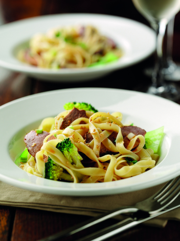 Tea-smoked duck breast tagliatelle