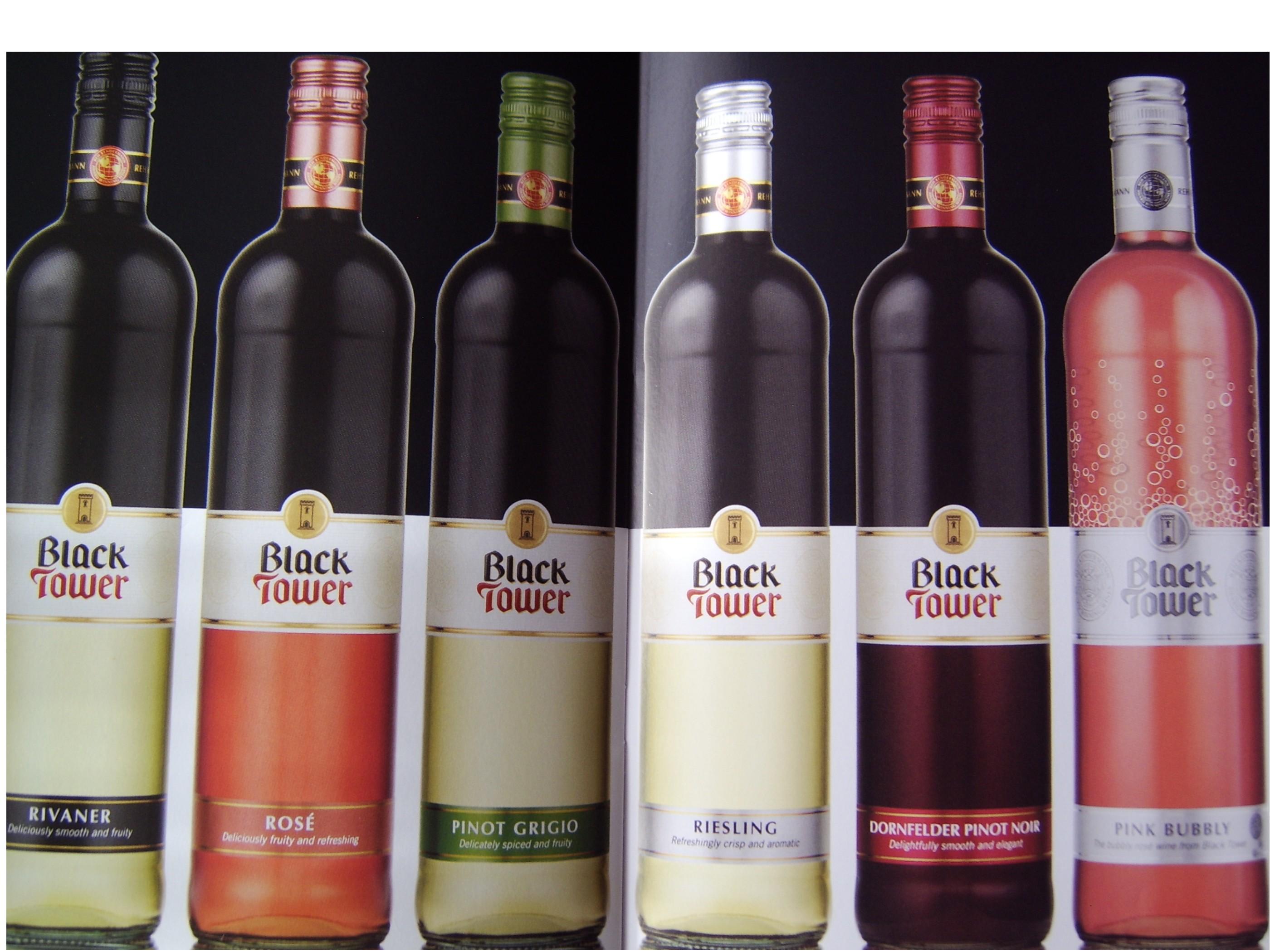 Left to right - Rivaner, Rose, Pinot Grigio, Risling, Dornfelder Pinot Noir, Pink Bubbly