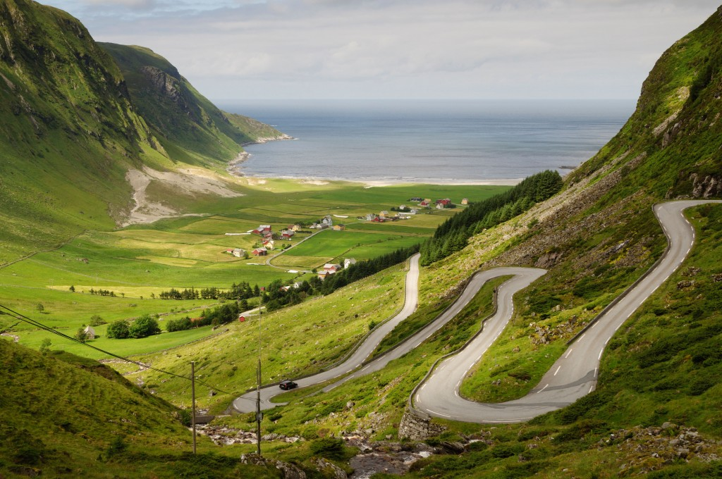 The small town of Hoddevik at the western coast of Norway