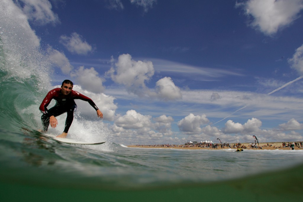 Surfer in Hossegor on the south west coast of France