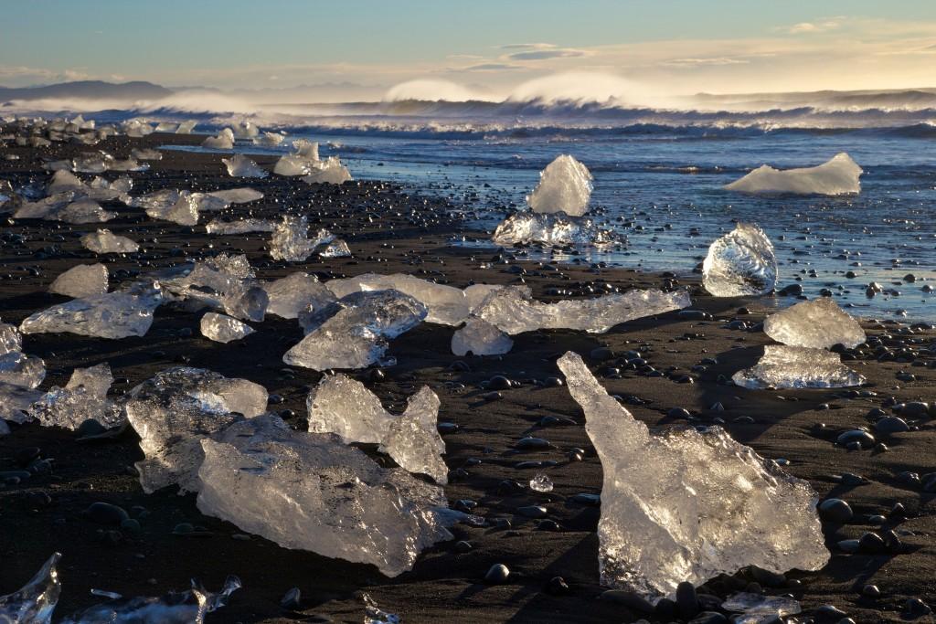 Icebergs on volcanic sand beach at Jokulsarlon, Iceland, Polar Regions