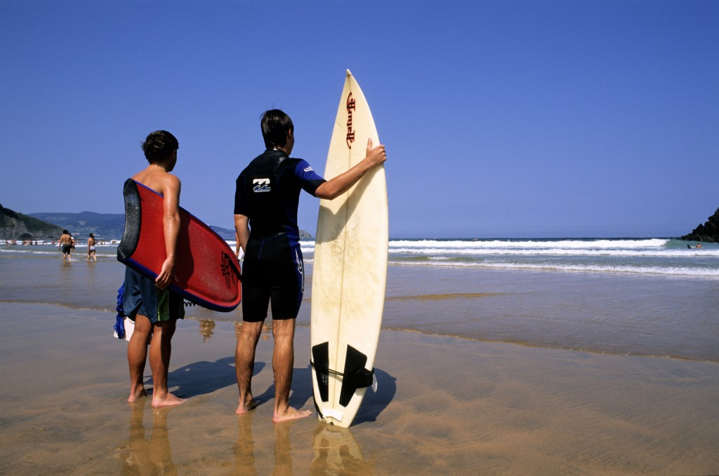 Surfers on Mundaka beach