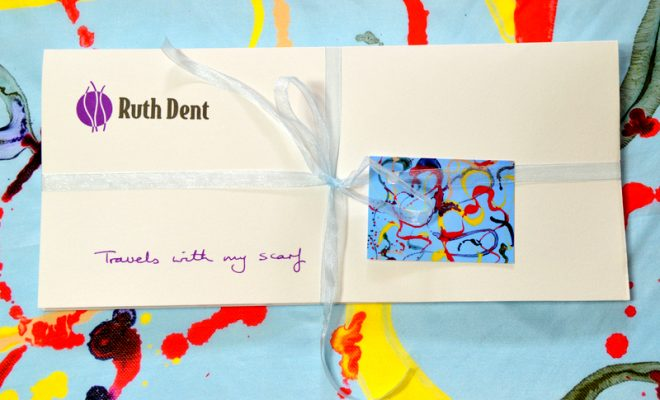 Ruth Dent Le Printemps Packaging on Scarf